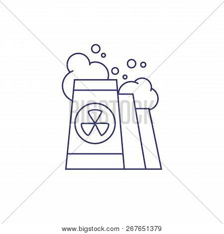Nuclear Power Industry Line Icon. Nuclear Reactor, Nuclear Power Plant, Atomic Electric Power Statio