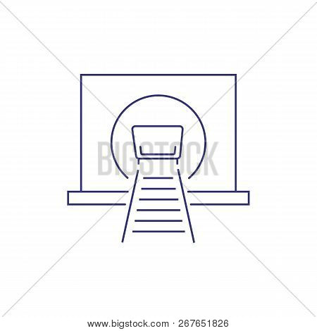 Trolley In Mine Tunnel Line Icon. Coal Mining, Extraction Of Minerals, Gold Mining. Engineering Conc