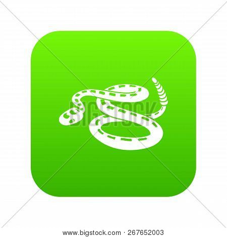 Rattlesnake Icon Green Vector Isolated On White Background