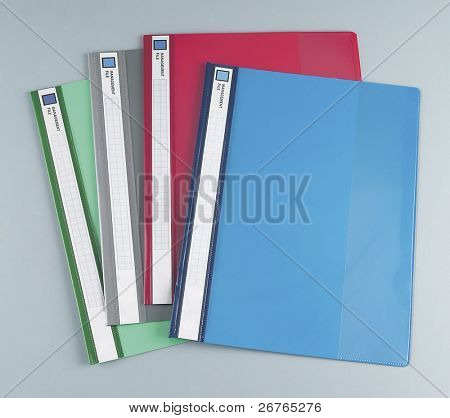 multicolored folder detail for office uses and management.
