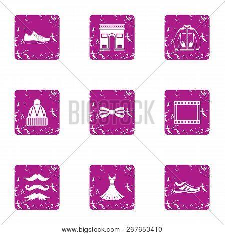Stylish Attitude Icons Set. Grunge Set Of 9 Stylish Attitude Vector Icons For Web Isolated On White