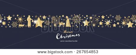 Christmas Time. Dark Blue And Golden Snowflake And Star Seamless Border With Mary, Jesus Baby And Jo