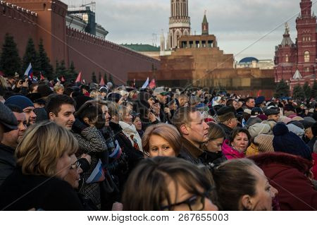 People On Military Parade Dedicated To The Hisorical Parade Held In 1941 On The Red Square
