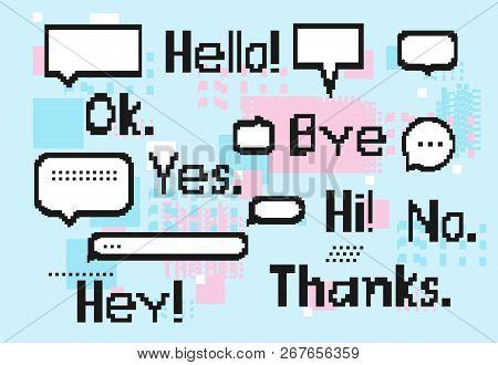 White 8 Bit Speech Bubbles Set, Pixel Short Phrases