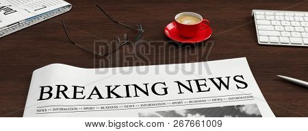 Newspaper with Breaking News headline lies on a desk as news and press concept (3D Rendering)