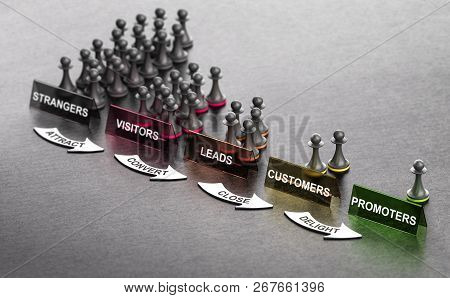 Inbound Marketing Principles Over Black Background With Pawns Signs And Arrows. Stages From Stranger