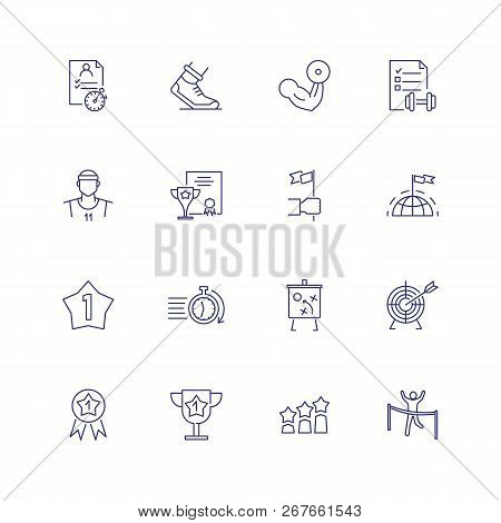 Sports And Competition Icons. Set Of Line Icons On White Background. Stop Watch, Runner, Champion. S