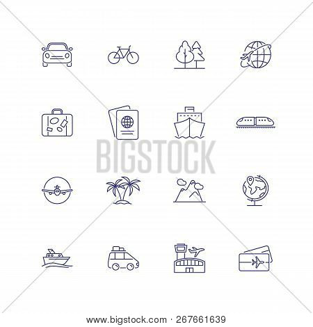 Transport And Travelling Icons. Set Of Line Icons On White Background. Palms, Bus, Passport, Sea Shi