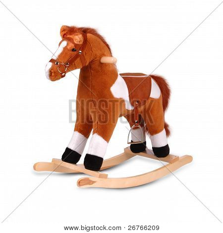 Brown Plush Rocking Horse Isolated On White