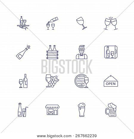 Wine And Beer Icons. Set Of Line Icons On White Background. Wine Bottle, Beer, Barmen. Drinking And