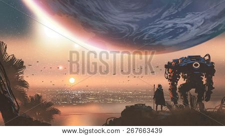 Journey Concept Showing A Man With Robot Looking At A New Colony In The Alien Planet, Digital Art St