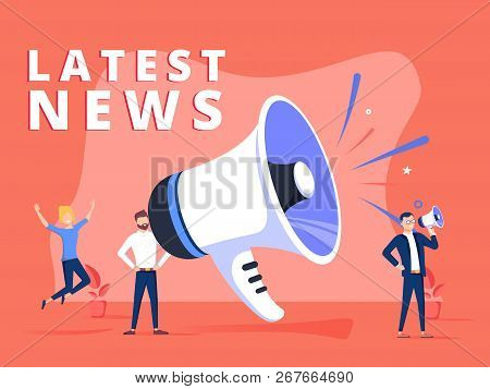 Latest News Vector Illustration Concept, People Shout On Megaphone With Latest News Word, Can Use Fo