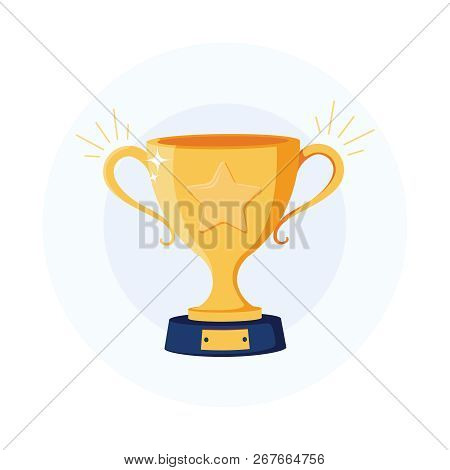 Gold Cup Trophy Icon. Winner Award Sign. First Place Cup Symbol. Championship Or Competition Trophy.