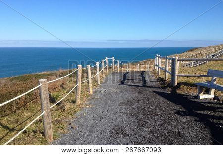 View Of Cabo De Ajo, The Ajo Cape. Cantabrian Sea, Cantabria, Northern Spain.