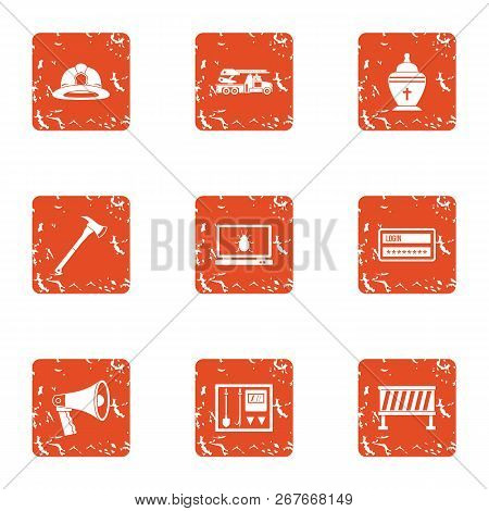 Rescue Worker Icons Set. Grunge Set Of 9 Rescue Worker Icons For Web Isolated On White Background