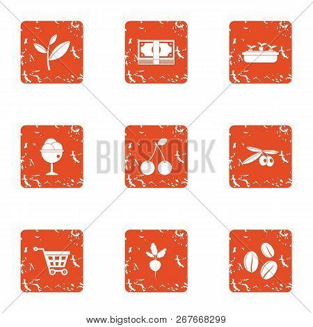 Verdant Icons Set. Grunge Set Of 9 Verdant Icons For Web Isolated On White Background