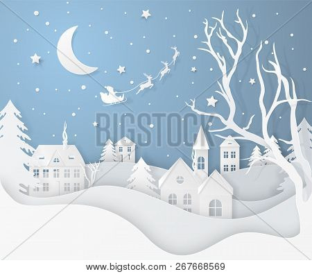Vector Winter Night Landscape With Fir Trees, Houses, Moon, Santa's Sleigh, Stars, Deers And Snow In