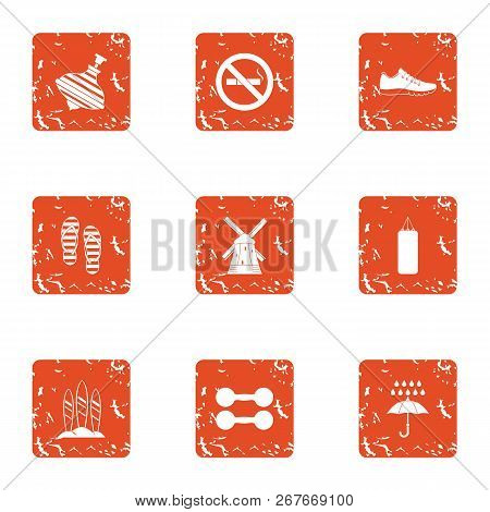 Play Outside Icons Set. Grunge Set Of 9 Play Outside Icons For Web Isolated On White Background