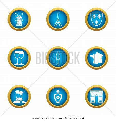 European Restaurant Icons Set. Flat Set Of 9 European Restaurant Icons For Web Isolated On White Bac
