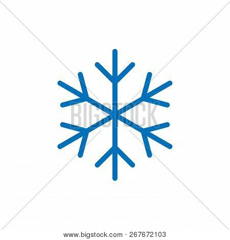 Snowflake Sign. Blue Snowflake Icon Isolated On White Background. Snow Flake Silhouette. Symbol Of S