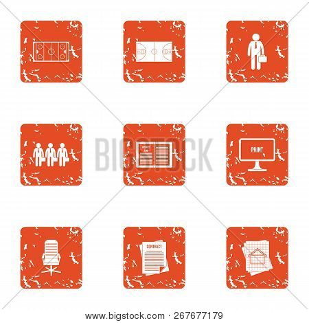 Organization Icons Set. Grunge Set Of 9 Organization Icons For Web Isolated On White Background