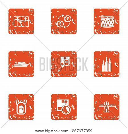 Finding Ways Icons Set. Grunge Set Of 9 Finding Ways Icons For Web Isolated On White Background