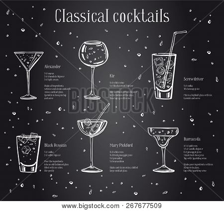 Classic Cocktails Recipe Text Description With Ingredients. Vector Sketch Outline Hand Drawn Illustr