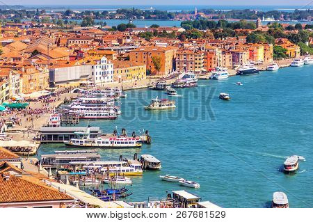 A Quay In The Venetial Lagoon Near Doges Palace In Venice