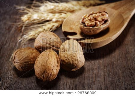 Walnuts with wooden spoon and wheat.