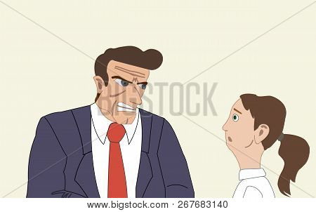 Angry Businessman Attacking His Colleague, Young Woman. Mobbing, Bullying, Intimidating At Workplace