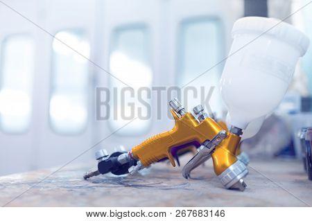 Two Spray Gun Workshop In Paint Chamber
