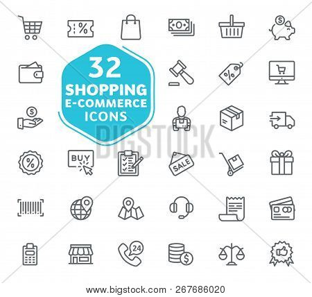 E-commerce, Online Shopping And Delivery Elements Vector Icons. Outline Icons Collection. Thin Lines