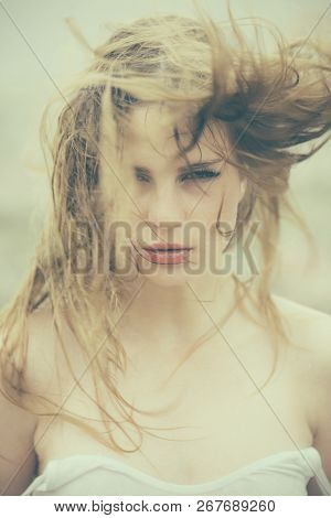 Fashion Portrait Of Woman. Girl With Lipstick On Lips. Hair Recover. Woman With Brittle Hair. Beauty