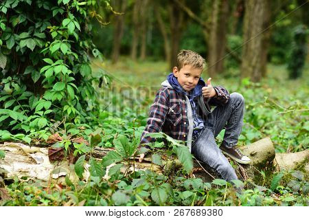 Start Being Successful. Small Boy Celebrate Success. Small Boy Show Thumbs Up In Woods. Success Is A