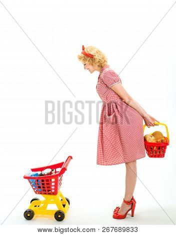 After Day Shopping. Next Stop Is Shop. This Is For You. Happy Retro Woman Go Shopping. Happy Housewi