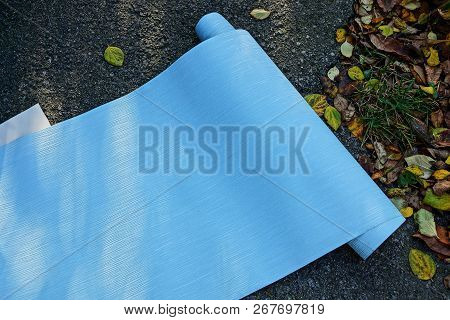 Blue Sheet Of Paper In A Roll Lying On The Pavement Among The Fallen Dry Leaves