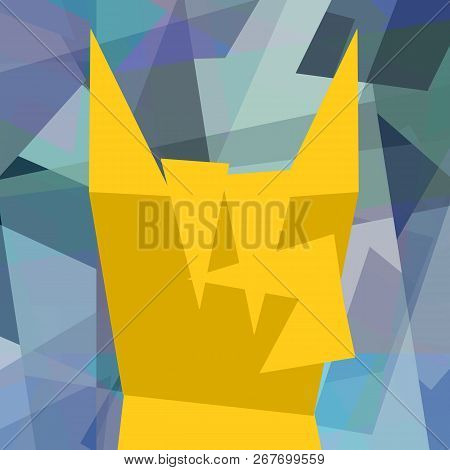Heavy Metal Rock Gesture In Cubism Style Abstract Background