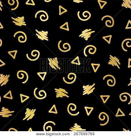 Abstract Doodle Shapes Gold Foil Seamless Vector Background. Shiny Metallic Golden Triangles, Twirls