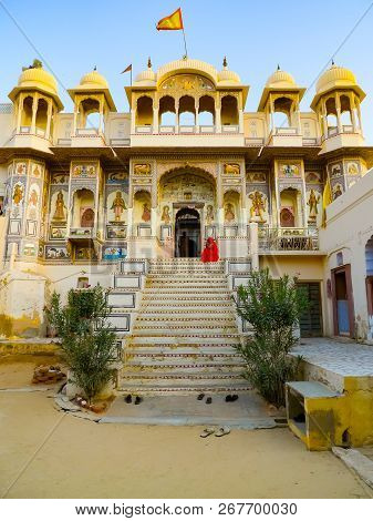 Front View Of A Hindu Temple In Mandawa, Rajasthan, India