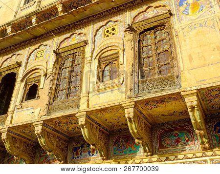 Detail Of Haveli Architecture, Mandawa, Rajasthan, India