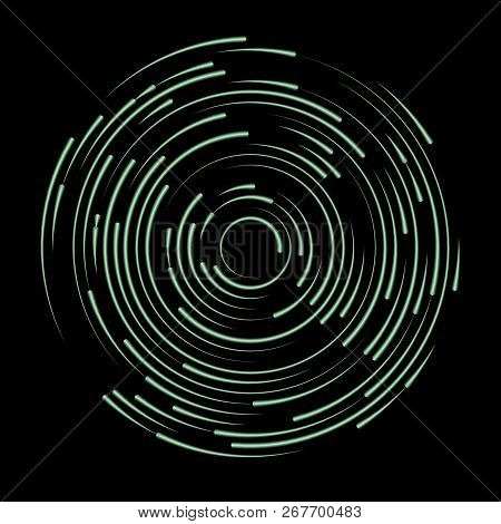 Neon Swirl Shape, Abstract Illustration. Circle Round Neon Lines. Abstract Vortex Trail.