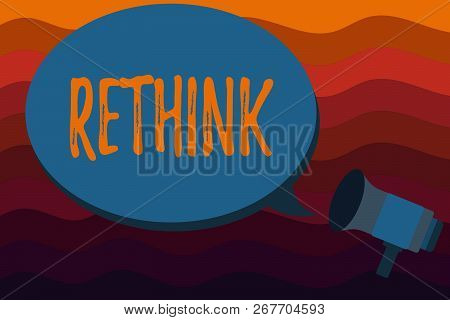 Text sign showing Rethink. Conceptual photo Think again twice from another perspective Reconsider revise poster