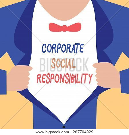 Handwriting Text Writing Corporate Social Responsibility. Concept Meaning Internal Corporate Policy
