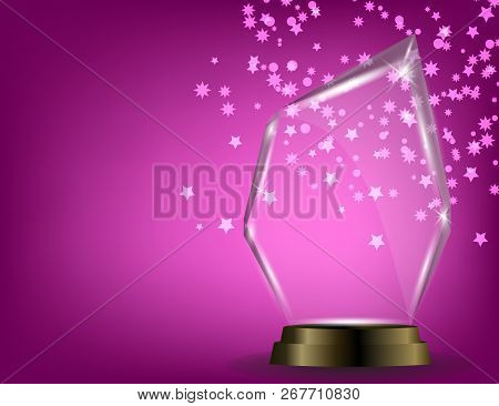 Glass Shining Trophy  Isolated On Sparkling Background. Glass Trophy Award Vector Illustration,