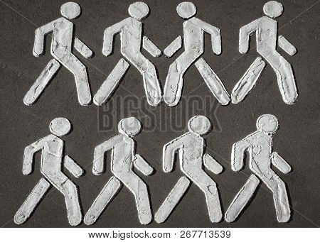 Concept: Pedestrian Crossing Sign Symbolizing People Diversity And The Struggle Of Fighting For Your