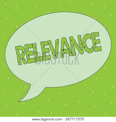 Handwriting text Relevance. Concept meaning Being closely connected Appropriate Important information poster