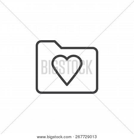 Heart Folder Outline Icon. Linear Style Sign For Mobile Concept And Web Design. Favorite Folder Simp