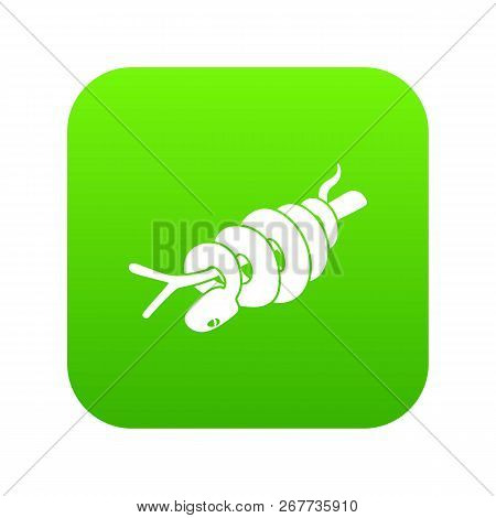 Ratsnake Icon Green Vector Isolated On White Background
