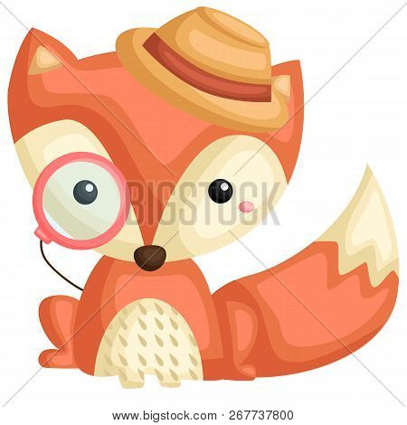 A Vector Of A Cute Fox Wearing Hat