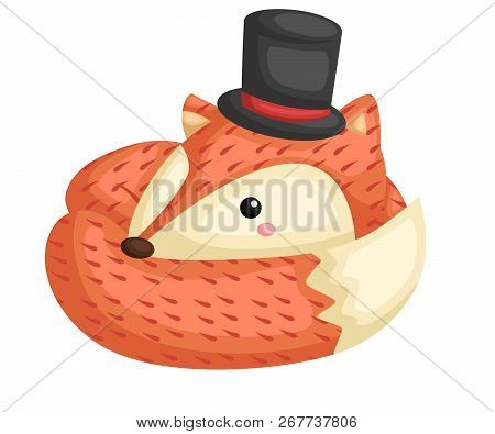A Vector Of A Cute Fox Wearing A Top Hat